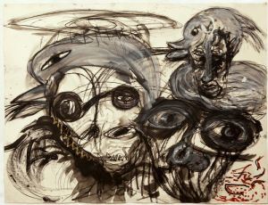 Untitled, 2012, ink, charcoal, oil on paper, 130X150 cm