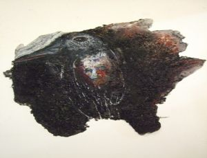 Untitled, 2010, crushed charcoal and oil chalks on plastic glue, 76X77 cm
