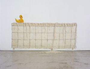 Untilted (Duck in the Tub), 2003, thread and string and PVA glue glue, 77X164 cm